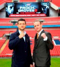 FROCH-GROVES REMATCH CONFERENCE WEMBLEY STADIUMWEMBLEYPIC;LAWRENCE LUSTIGCARL FROCH AND GEORGE GROVES COME FACE TO FACE AT WEMBLEY STADIUM AND IT GETS A BIT HEATED AS FROCH SHOVES GROVES