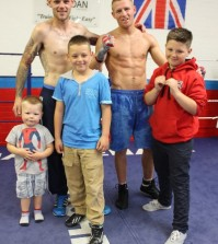 kevin hooper with kids and terry flanagan boxing