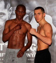 RISE UP PROMOTION WEIGH INMANCHESTER CENTRAL,MANCHESTERPIC;LAWRENCE LUSTIGWBA SUPER-BANTAMWEIGHT TITLEWORLD CHAMPION SCOTT QUIGG AND CHALLENGER TSHIFHIWA MUNYAIWEIGH IN