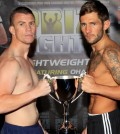 PRIZEFIGHTER-LIGHTWEIGHTS3WEIGH IN TRINITY HOUSE,LONDONPIC;LAWRENCE LUSTIGGARY BUCKLAND AND FLOYD MOORE WEIGH IN